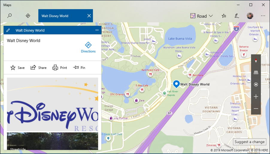 walt disney world - microsoft maps