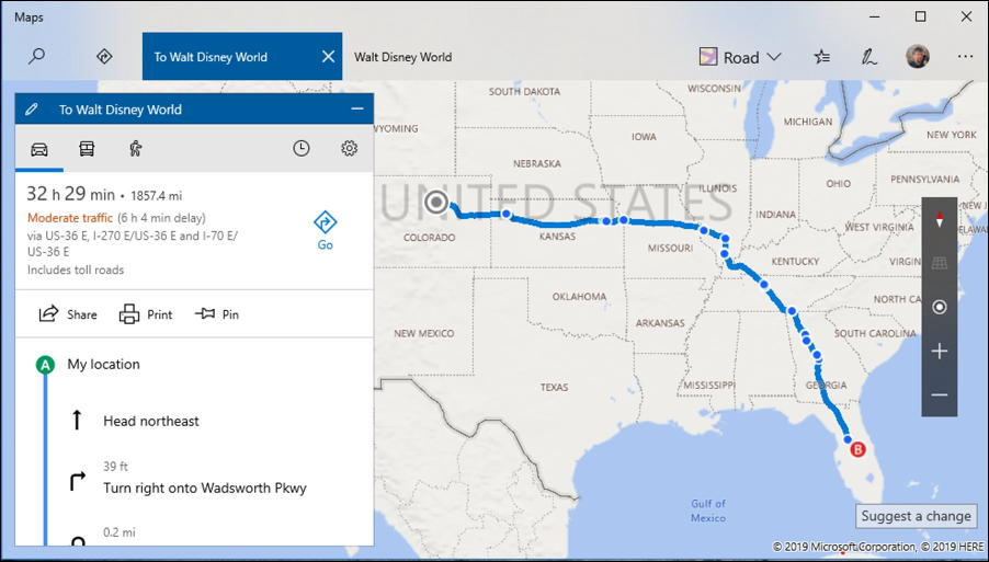 microsoft maps - driving directions denver colorado to walt disney world orlando florida