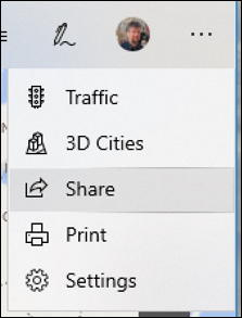 microsoft maps - advanced more menu