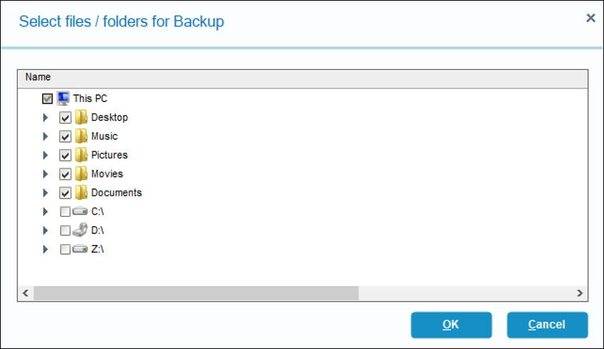 folders to back up - idrive windows win10 backup
