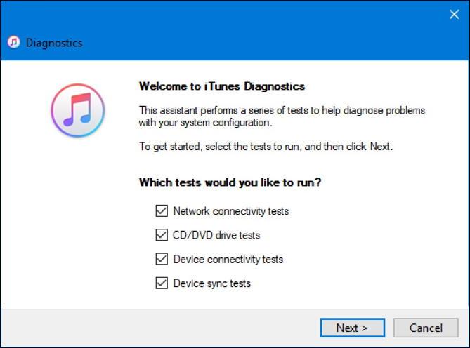 itunes windows pc 'help' run diagnostics