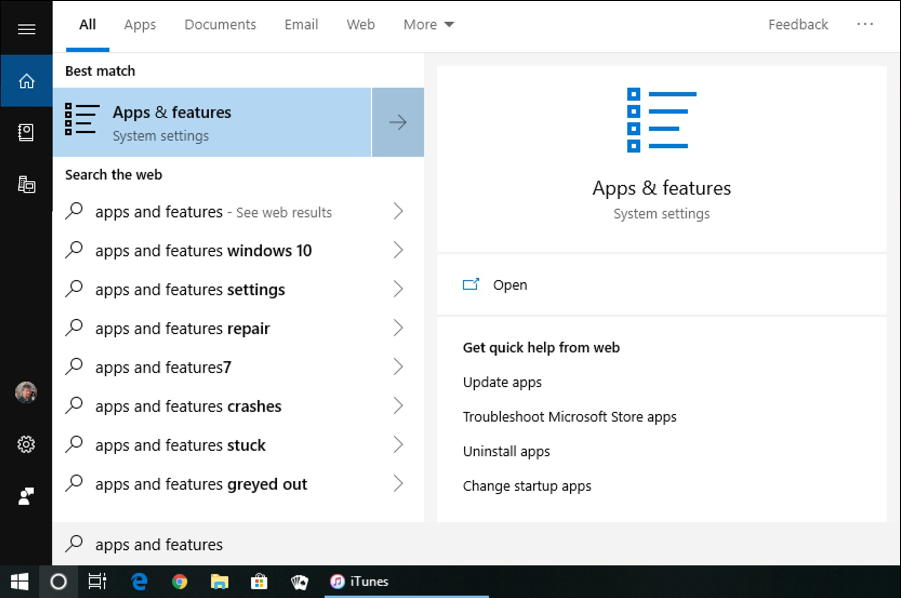 win10 search - apps and features