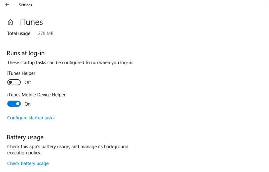 itunes settings / advanced options / windows 10