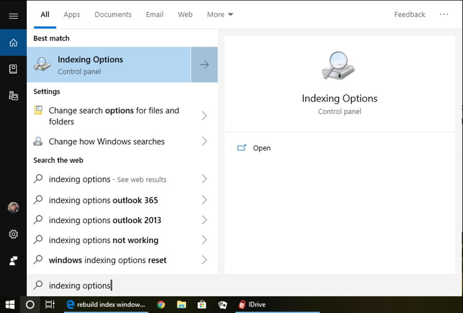 win10 - indexing options - search