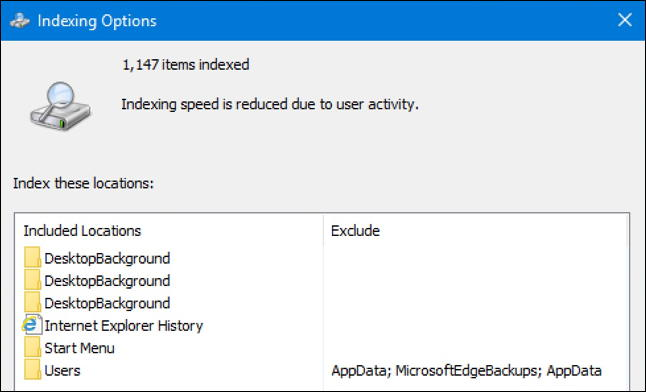 windows 10 - file count files indexed - search