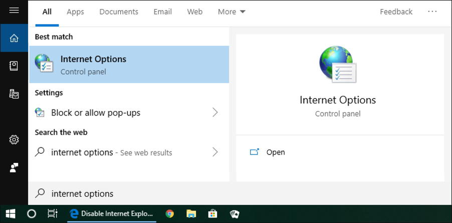 win10 search - internet options