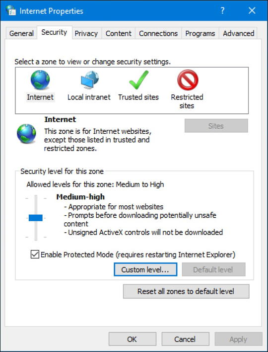 windows 10 internet options control panel