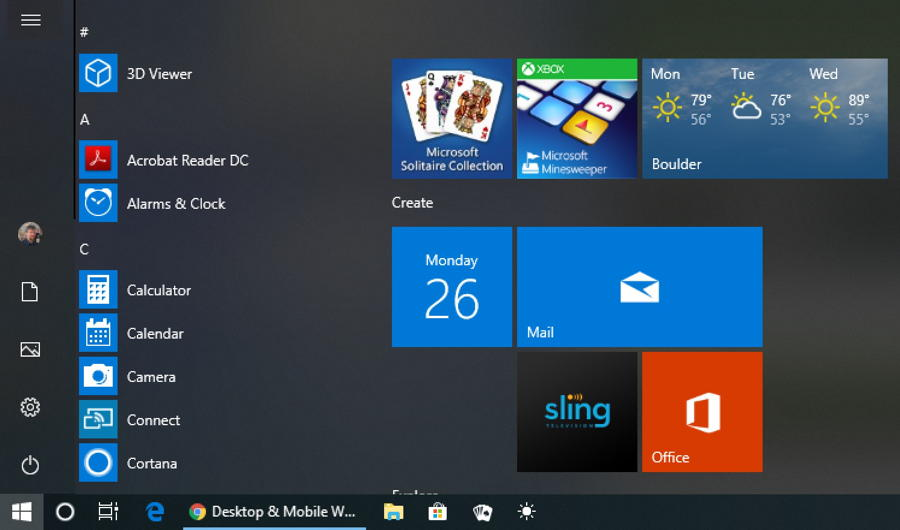 win10 microsoft windows 10 weather start menu