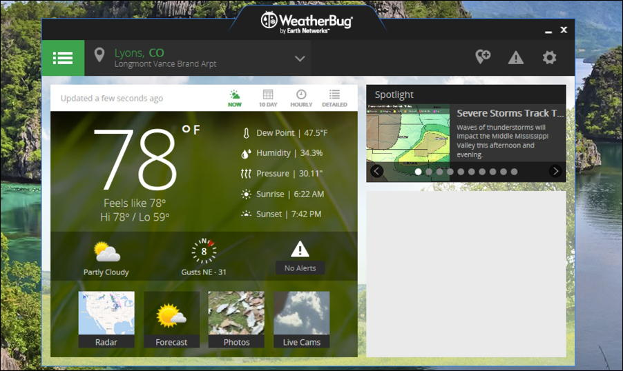 weatherbug windows win10 running main screen hello