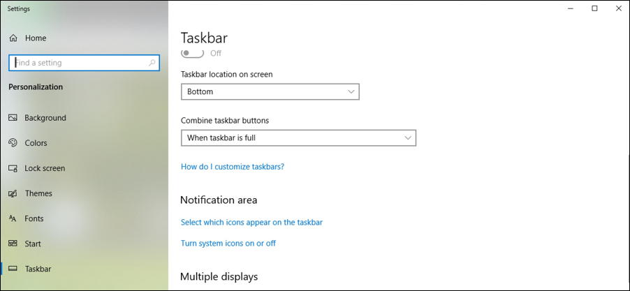 win10 taskbar settings control panel preferences