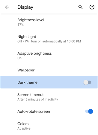 enable dark mode theme android q 10
