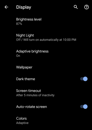 android q / android 10 dark theme mode enabled on