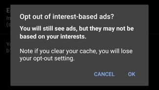 android 10: opt out of interest-based personalized ads warning