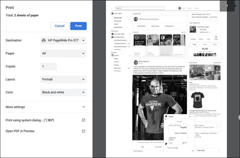 mac google chrome - print preview