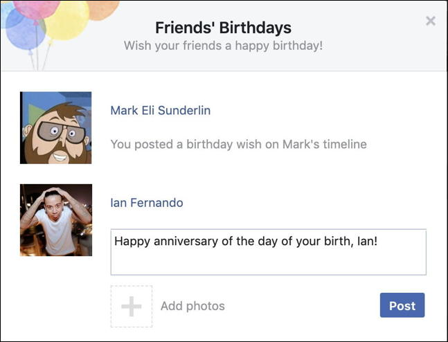 wished happy birthday facebook easy fast