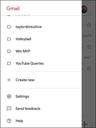 gmail for iphone - label folder menu 'settings'