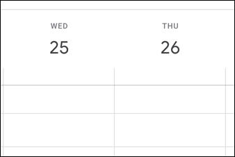 google calendar empty grid