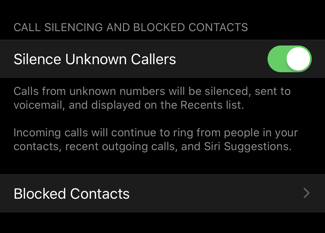 ios13 settings silence unknown callers