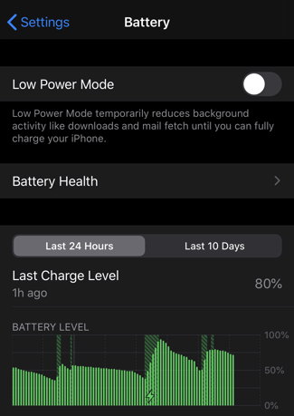 ios13 settings  battery settings preferences