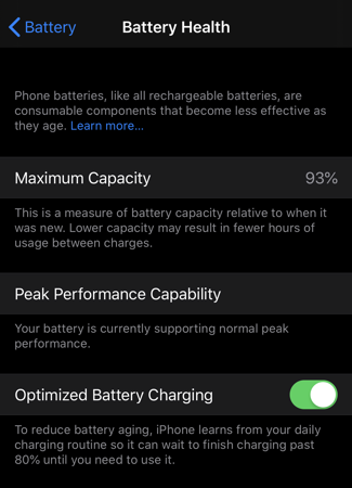 ios13 settings battery health setting