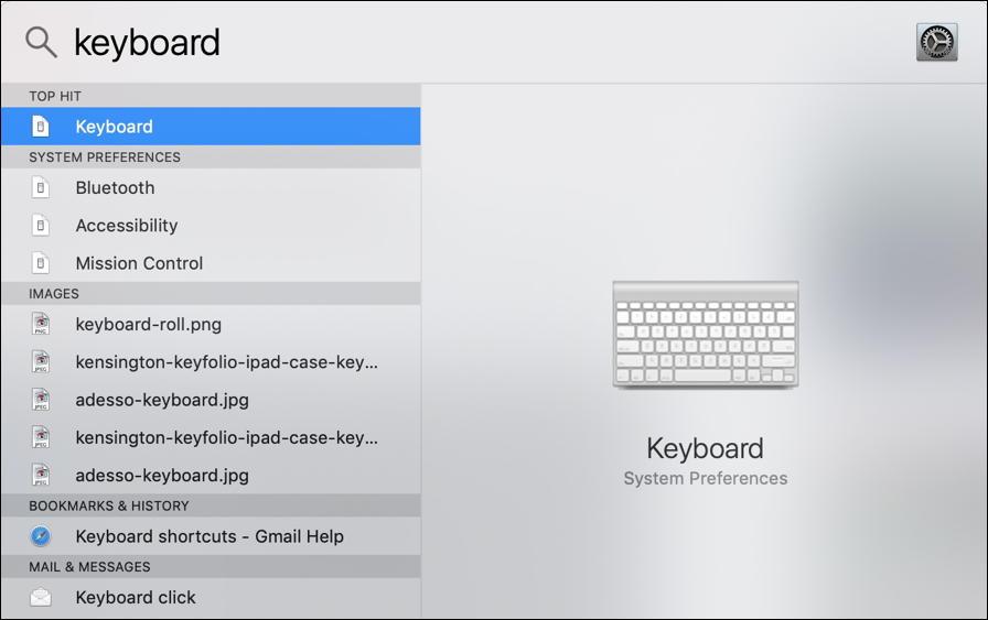 macos x - spotlight search - keyboard