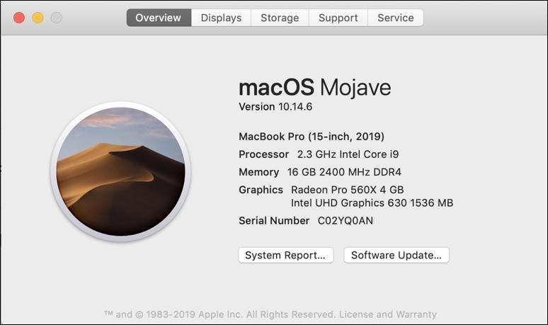 about this mac - 10.14 mojave