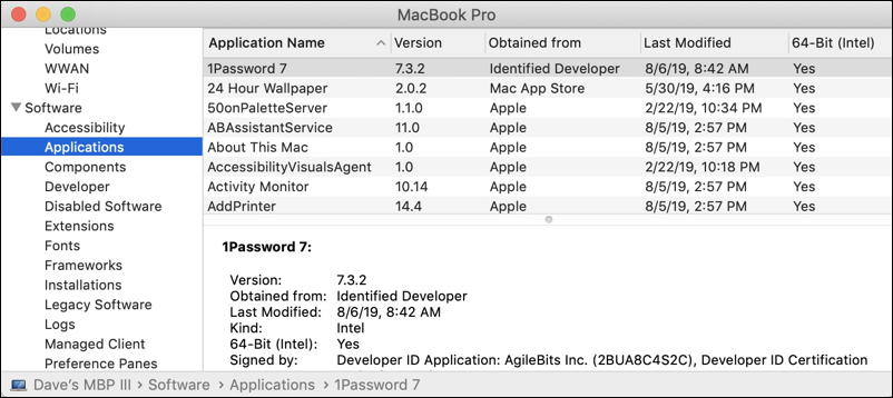 macos x hardware report - software - applications - 32bit 64 bit