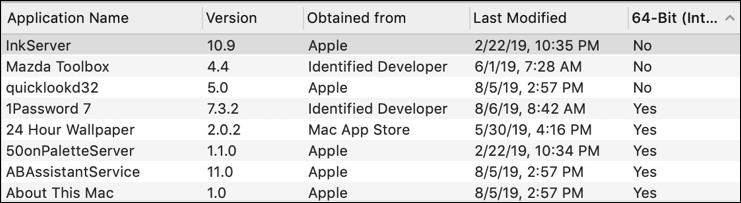 macos x applications apps programs - 32-bit not 64-bit incompatible catalina