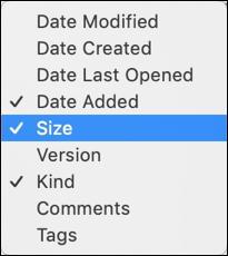 macos x finder - sort column labels menu