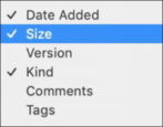 mac finder - list view - file sizes - macos x