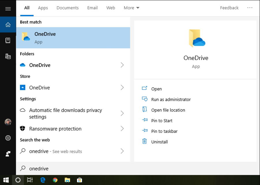 launch onedrive win10