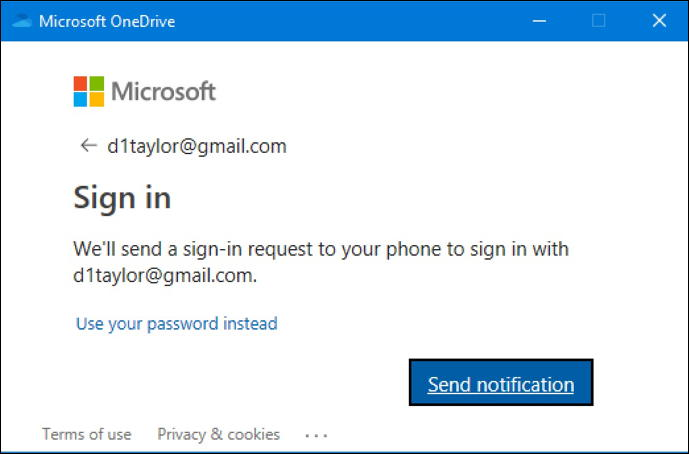log in to onedrive windows 10