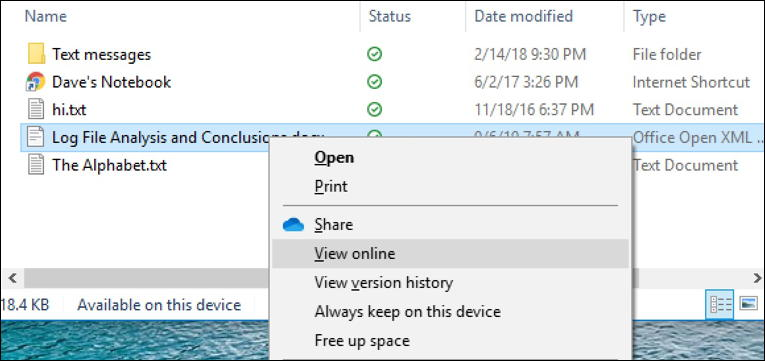 open file folder online - onedrive - windows 10 win10
