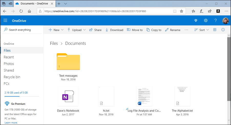 onedrive folder - documents - in microsoft edge