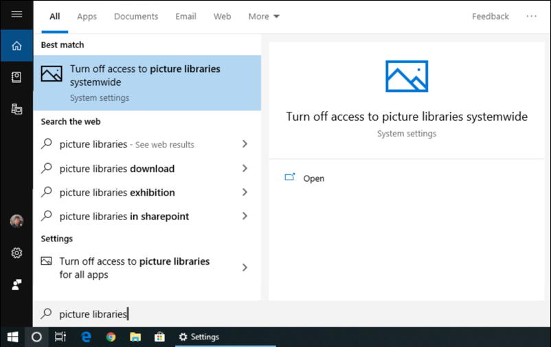 win10 search - picture libraries