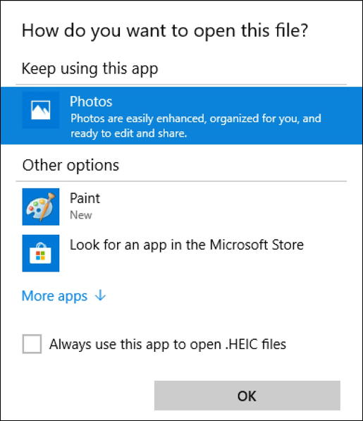 win10 open heif heic photo with