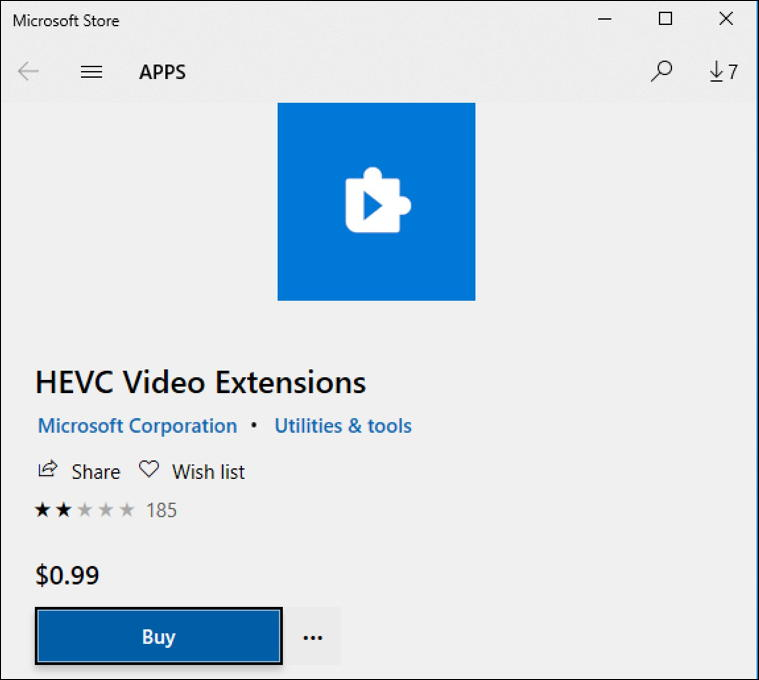 heic video extension - $0.99 - microsoft store codec
