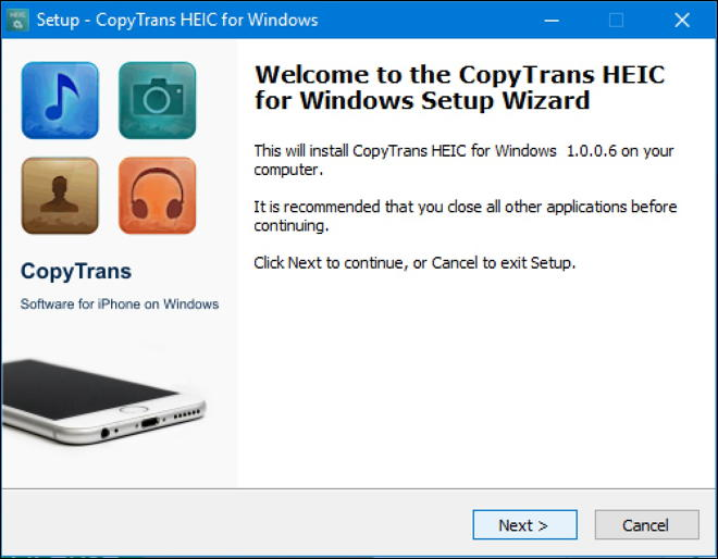 copytrans heic for windows installer