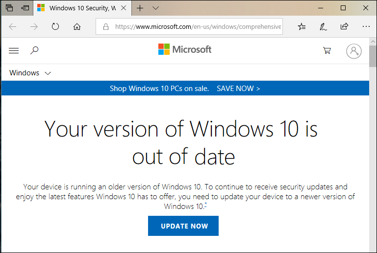 your version of windows 10 is out of date error warning