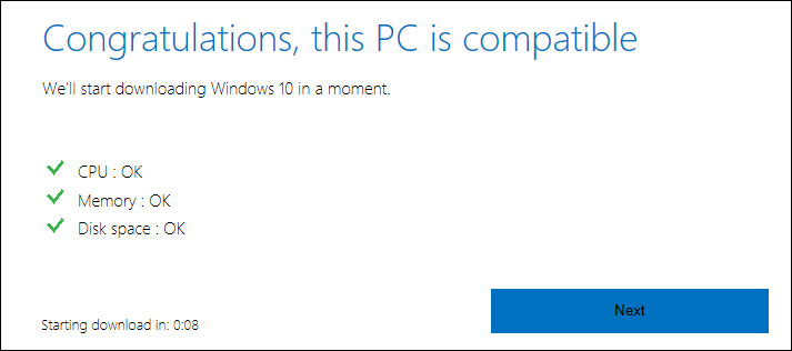 congratulations this pc is compatible windows 10 win10