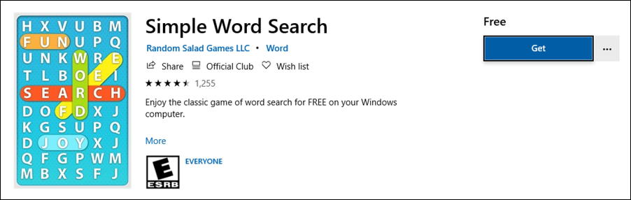 microsoft windows 10 - simple word search puzzle game info