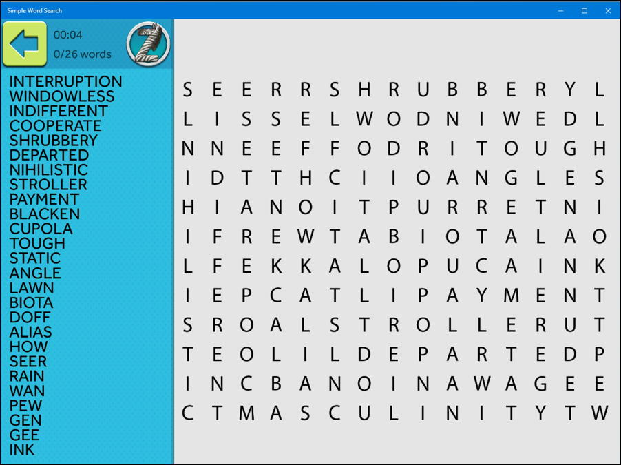 simple word search puzzle game - windows 10 win10