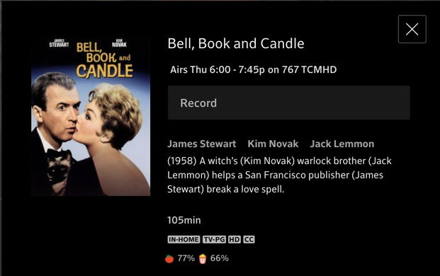 setup recording bell, book and candle movie xfinity tv network tcm