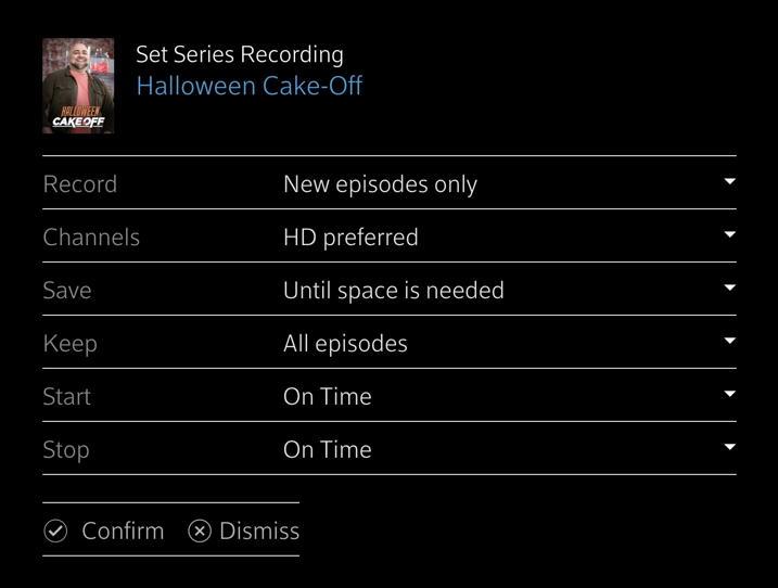 xfinity dvr record tv series program web remote