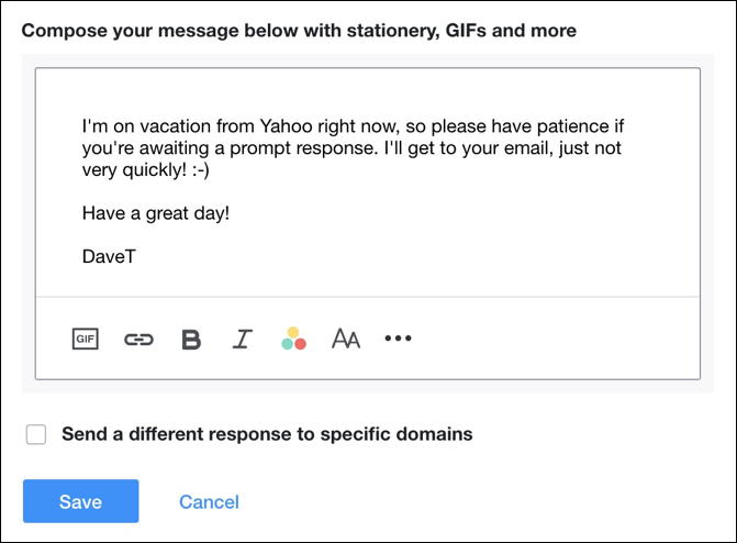 yahoo mail autoresponder vacation message example sample demo