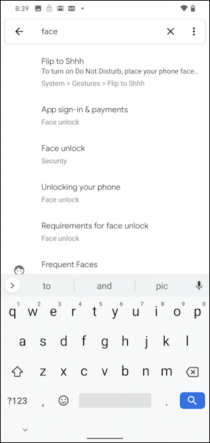 android 10 - settings - face unlock