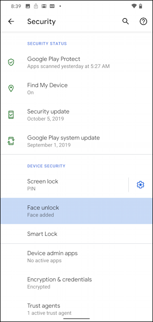 android 10 - settings - face unlock - face added