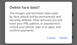 android 10 - settings - face unlock delete face data?