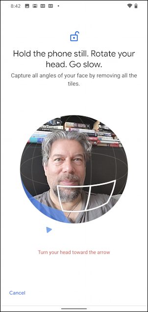 android 10 - settings - face unlock  - scanning face photo picture