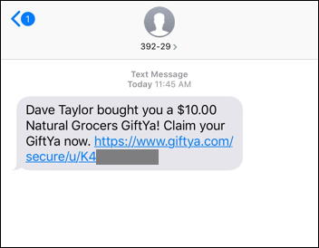giftya gift card - gift received text message sms